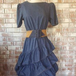 VINTAGE Denim Ruffle Dress